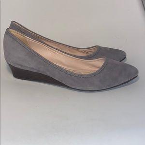 Cole Haan platform heels grey suede heels 7.5 B